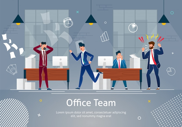 Chaos op de werkplek. office-team in paniek.
