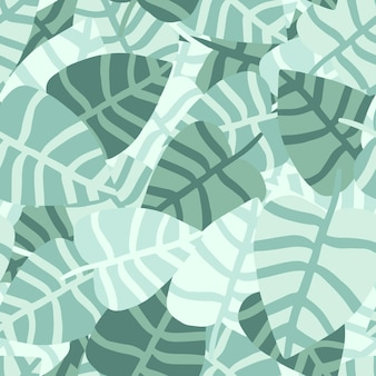 Chaotische hand loting jungle naadloze patroon. exotische plant. zomer tropisch patroon, palmbladeren vector florale achtergrond.