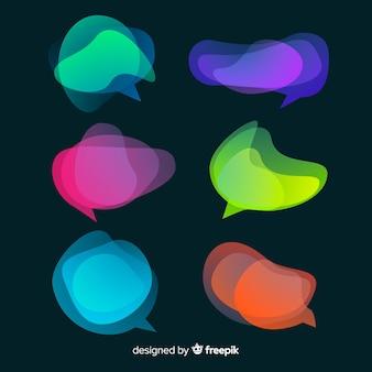 Chaotische kleurrijke tekstballonnen op donkere achtergrond
