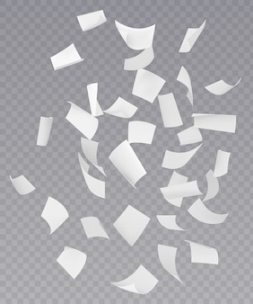 Chaotische vallende vliegende papieren vellen