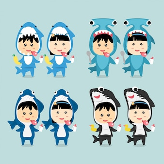 Character design cute kids dragen shark costume set.
