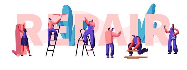Character fix house, office of shop banner. diagnose en reparatie van problemen in een huis. lijmt behang en schildert de muur. man iets herstellen. platte cartoon vectorillustratie