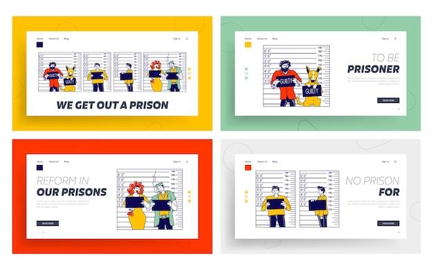 Characters criminal mugshot landing page template set.