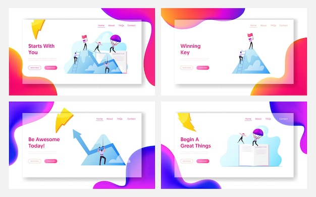 Characters new heights, team work landing page template set.