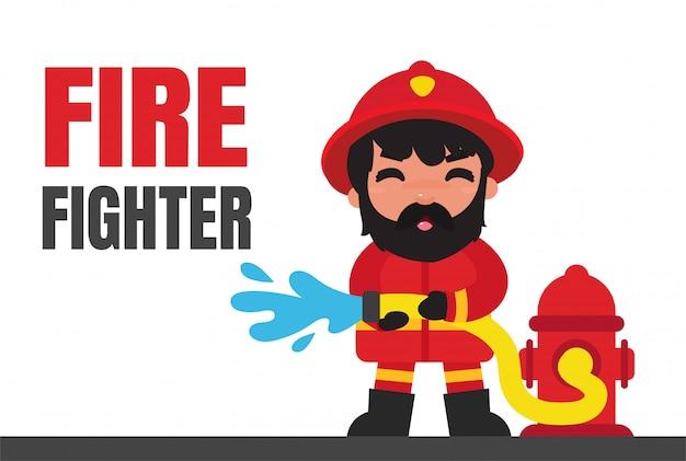 Charecter baan cartoon brandweerlieden.