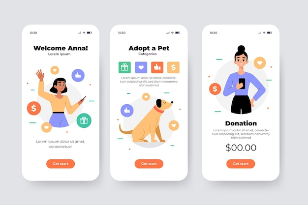 Charity app-interface schermen