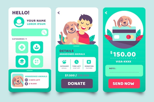 Charity app-schermen