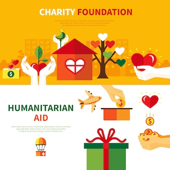 Charity foundations flat banners set