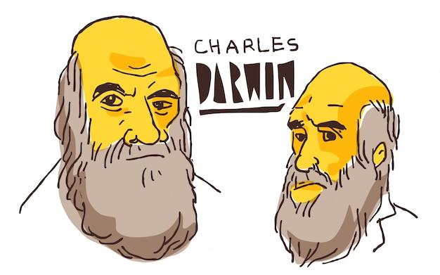 Charles darwin in gele en zwarte schets