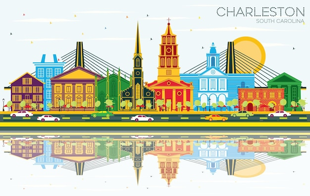 Charleston south carolina city skyline met kleur gebouwen blauwe lucht en reflecties vector