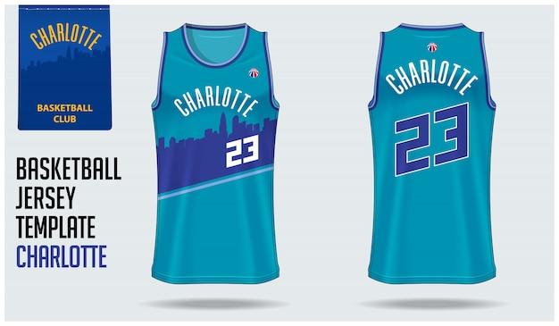 Charlotte basketbal jersey sjabloonontwerp