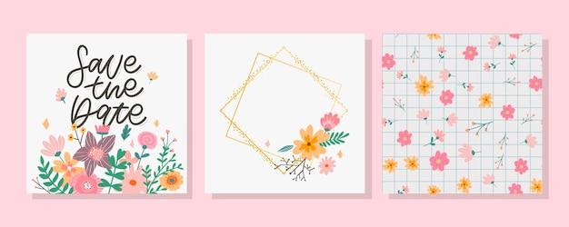 Charmante save the date mooie lente conceptkaart geweldige bloemen en vogels gemaakt in aquareltechn... Premium Vector