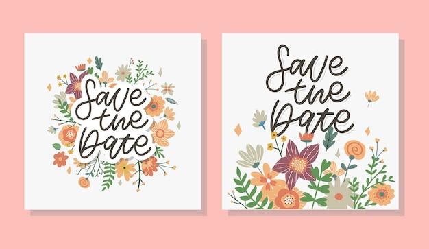 Charmante save the date mooie lente conceptkaart geweldige bloemen en vogels gemaakt in aquareltechn...