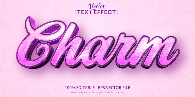 Charme-tekst, bewerkbaar teksteffect in kalligrafische stijl
