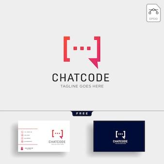 Chat, bericht, spraak, conversatie logo sjabloon met visitekaartje