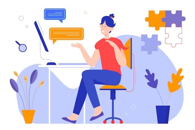 Chat berichten illustratie. gelukkig jong meisje stripfiguur zittend aan tafel, met chatten sms bubbels, bericht puzzelstukjes boven het hoofd, online communicatieconcept op wit