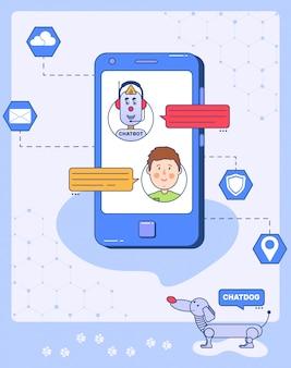 Chat bot communiceert met de klant