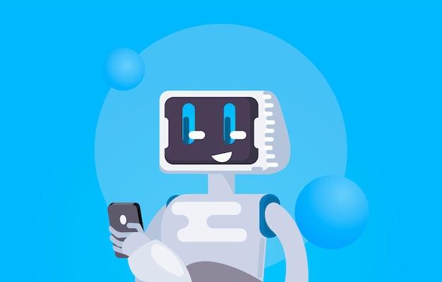 Chat bot gratis achtergrond. de robot houdt de telefoon vast, reageert op berichten.