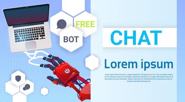 Chat bot handen met behulp van laptopcomputer, robot virtuele hulp van de website of mobiele toepassingen, ar