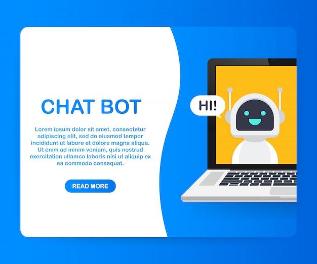 Chat bot met behulp van laptop, robot virtuele hulp van website of mobiele applicaties. voice support service bot. online ondersteuning bot. .