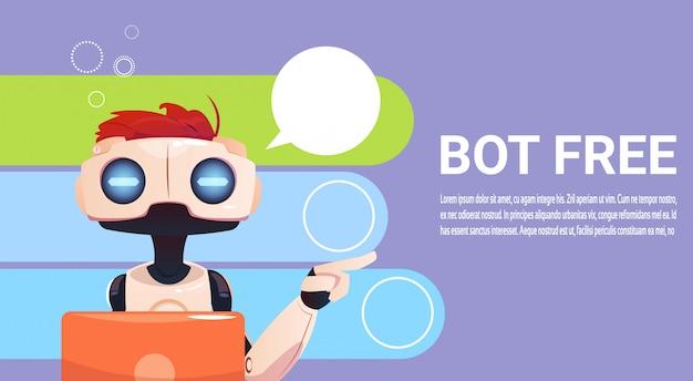 Chat bot met behulp van laptopcomputer, robot virtuele hulp van website of mobiele toepassingen, artifici
