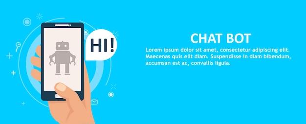 Chat bot op de telefoon in de hand. banner.