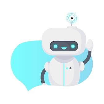 Chat bot robot geïsoleerd op wit.