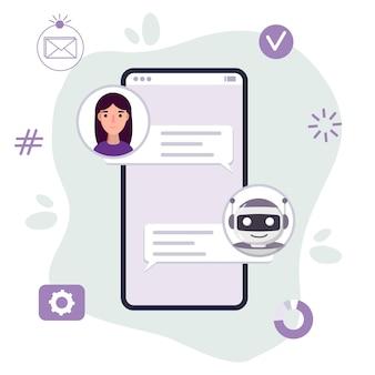 Chat bot robot platte cartoon afbeelding spreek bubbel stemondersteuning servicechat virtuele online hulp