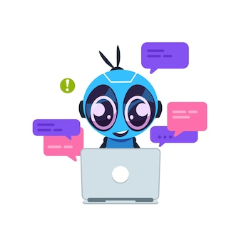Chat-bot. schattige cartoonrobot met kunstmatige intelligentie, persoonlijke assistent en virtueel ondersteuningsserviceconcept. klantenservice