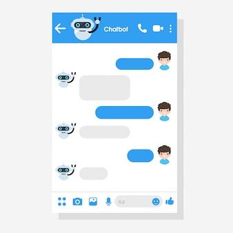 Chat bot zegt hallo. robots die zijn geprogrammeerd om online met klanten te praten.