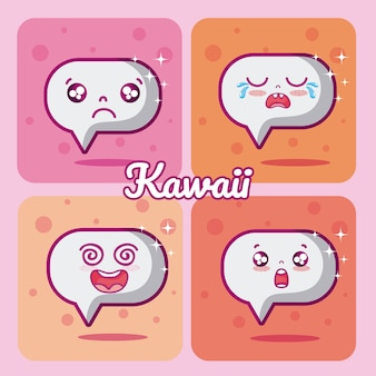 Chat bubbels kawaii cartoons collectie