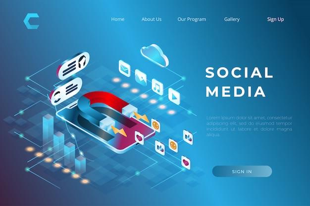 Chat illustraties via sociale media in isometrische illustratie