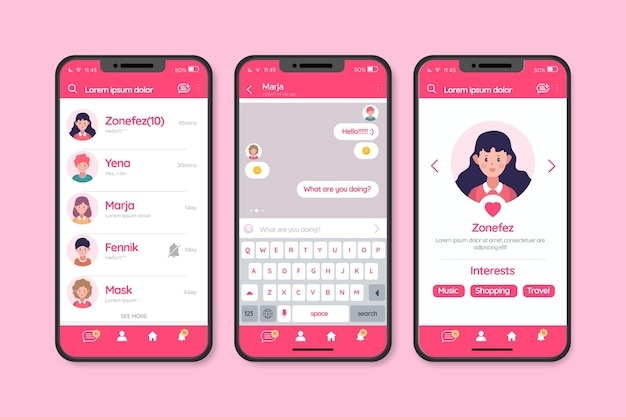 Chat-interface voor dating-app