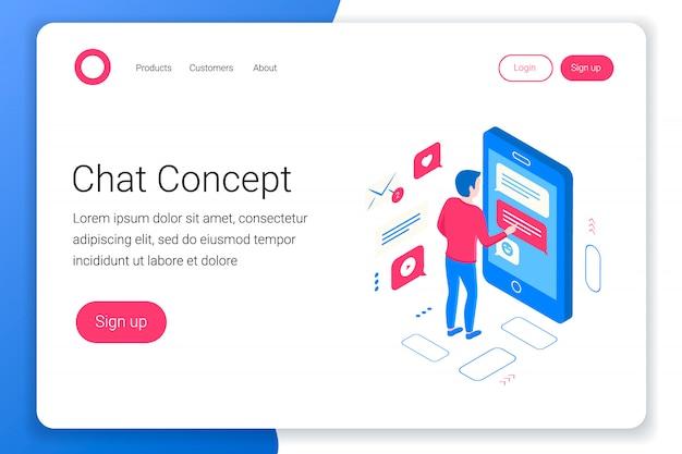 Chat isometrische concept. man stuur bericht vanaf de smartphone. flat 3d-stijl. landingspagina sjabloon. illustratie. illustratie.