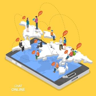 Chat online isometrische platte vector concept