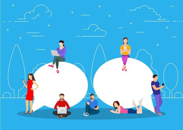 Chat praten. mensen voor het verzenden van berichten