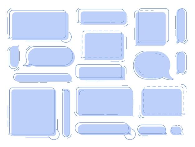 Chat tekstballonnen geometrische gedachte ballonnen wolken voor berichten of dialoog chats vector set