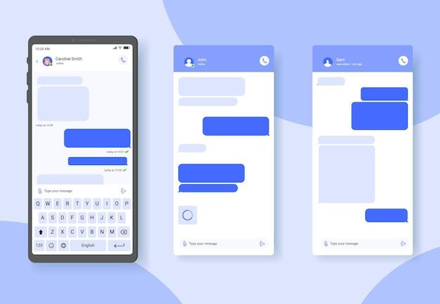 Chat tekstballonnen op smartphone scherm dialoog ballonnen privébericht verzenden vector sjabloon