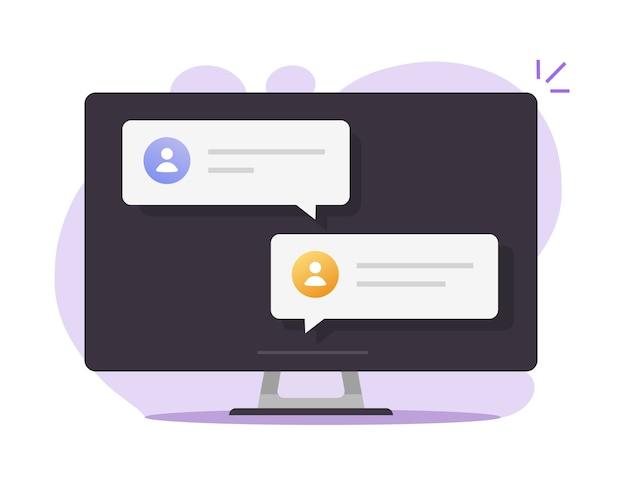 Chat-tekstberichten online mededelingen op het pc-scherm van de desktopcomputer met chatbubbeltoespraken