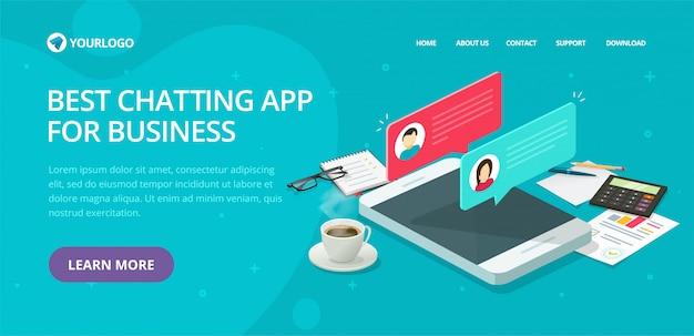 Chat tekstberichten website sjabloon ontwerp vector lay-out