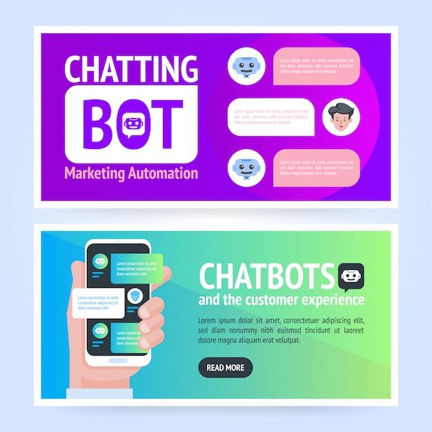 Chatbot banner concept. sjabloon voor horizontale zakelijke spandoek. cover koptekst achtergrond sjabloon in vlakke stijl met plaats voor tekst