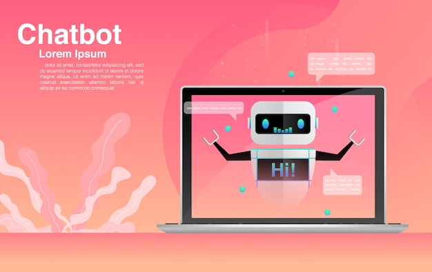 Chatbot, chatten met chatbot-applicatie, chatbot-technologie en online helpcentrum.