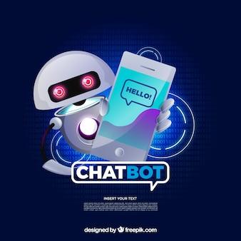 Chatbot concept achtergrond in realistische stijl
