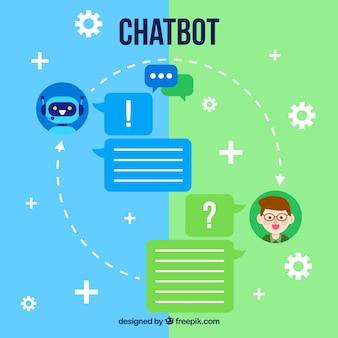 Chatbot concept achtergrond in vlakke stijl