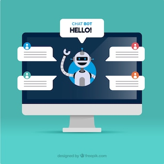 Chatbot concept achtergrond met computer