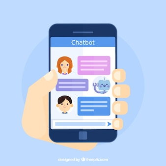 Chatbot concept achtergrond met mobiel apparaat