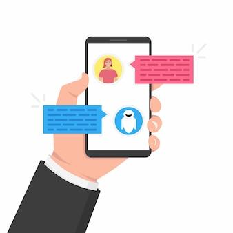 Chatbot concept. gebruiker chatten met chatbot in mobiele applicatie