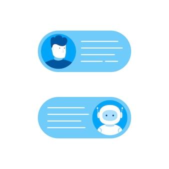 Chatbot concept. man chatten met chat bot. moderne vlakke stijl vectorillustratie