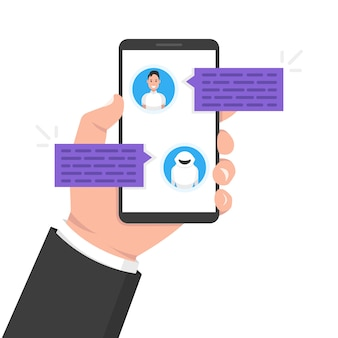 Chatbot concept. man chatten met chat bot op smartphone