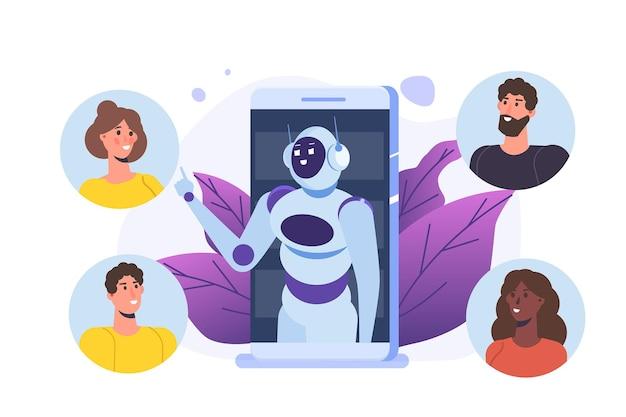 Chatbot-concept. man in gesprek met robot. klantenservice android, kunstmatige intelligentie dialoog. Premium Vector